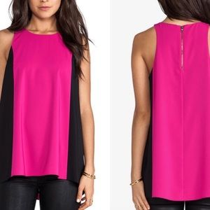 Alice + Olivia XS Pink and Black Tank Silk Blend